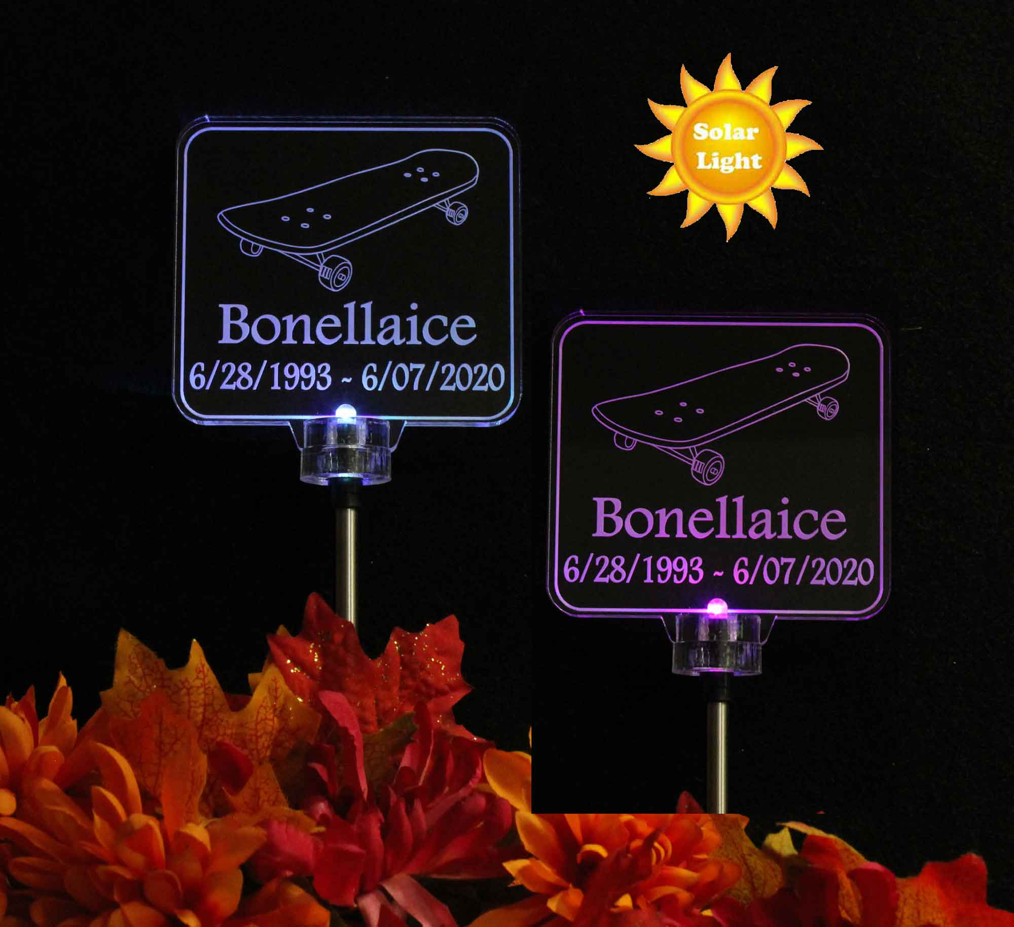 Personalized Skateboard Solar Light, Grave Marker, Garden Light, Memorial light