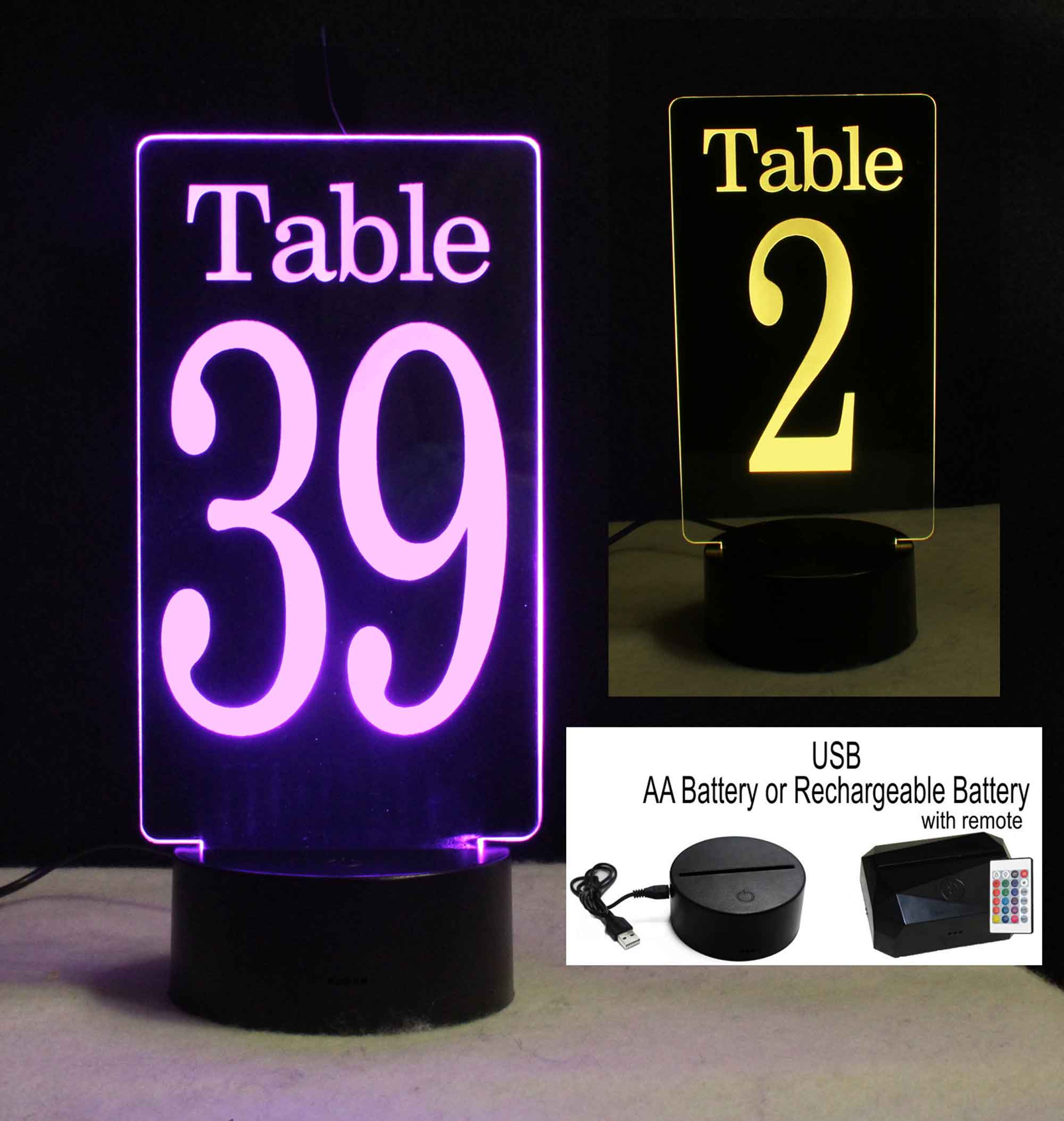 Lighted Table numbers, Battery operated USB