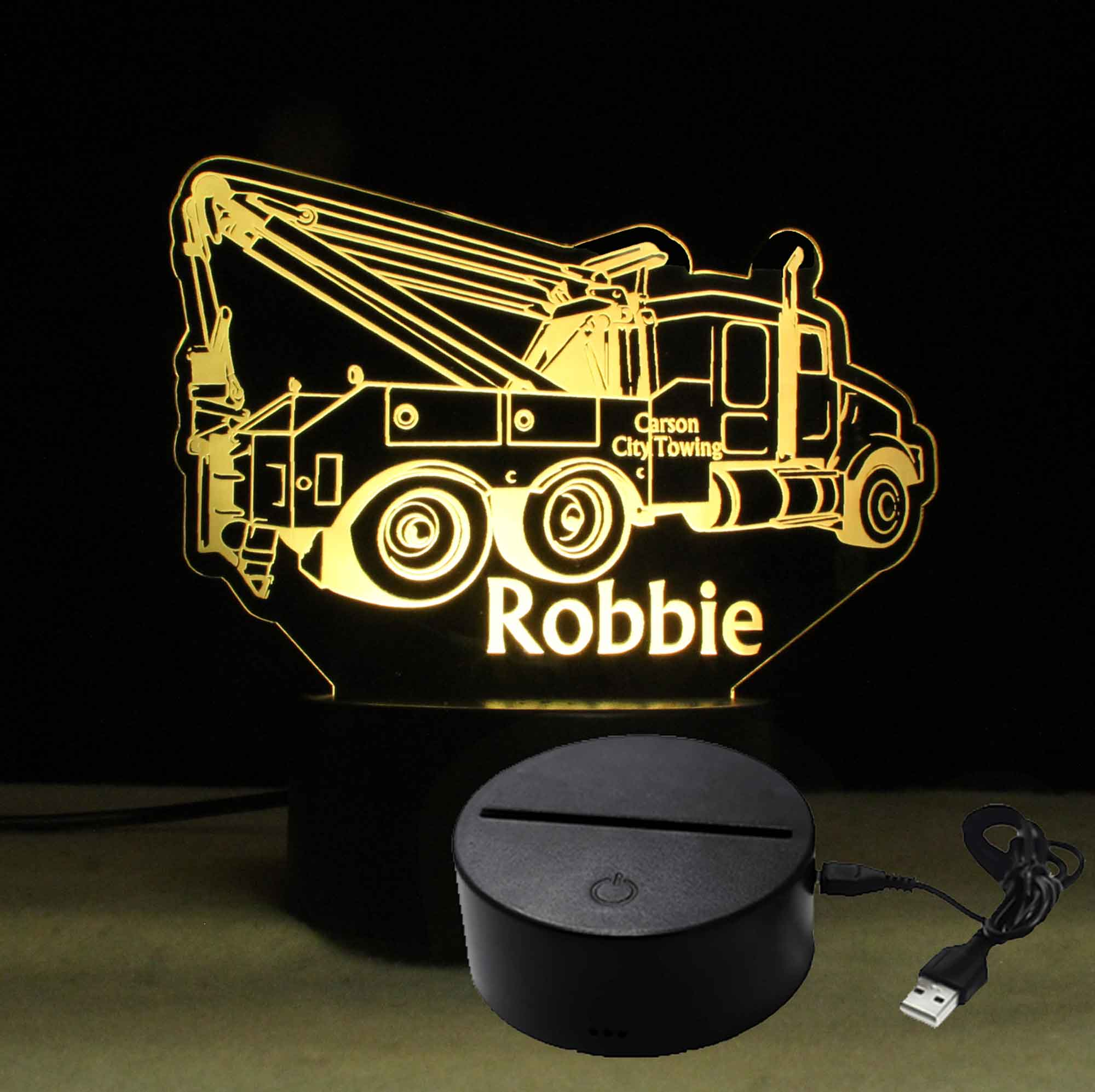 Customizable Personalized Tow Truck night light LED, USB/110V/240V battery operated