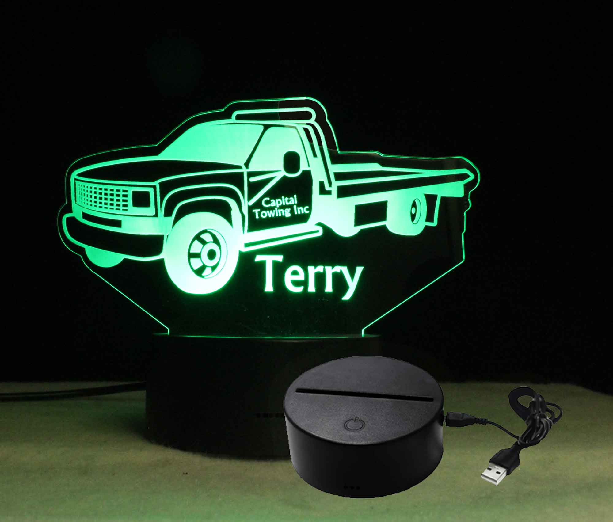 Customizable Tow Truck night light, Personalized USB/110V/240V battery operated
