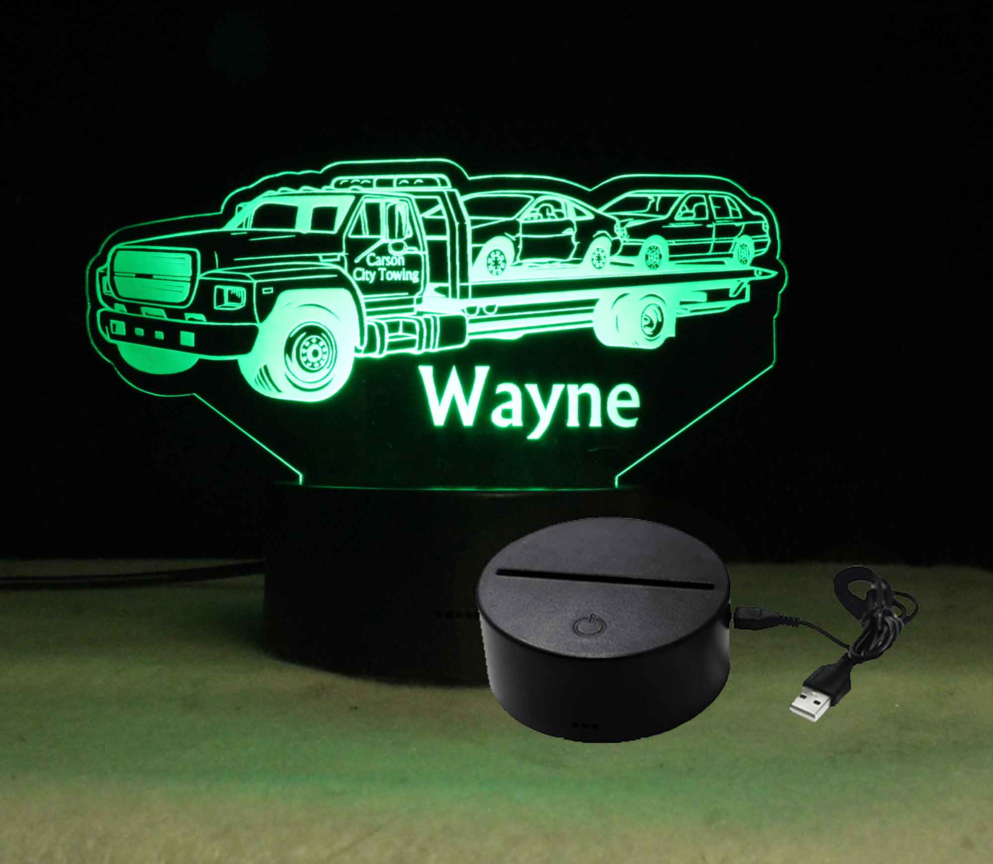 Personalized Tow Truck night light, USB/110V/240V battery operated