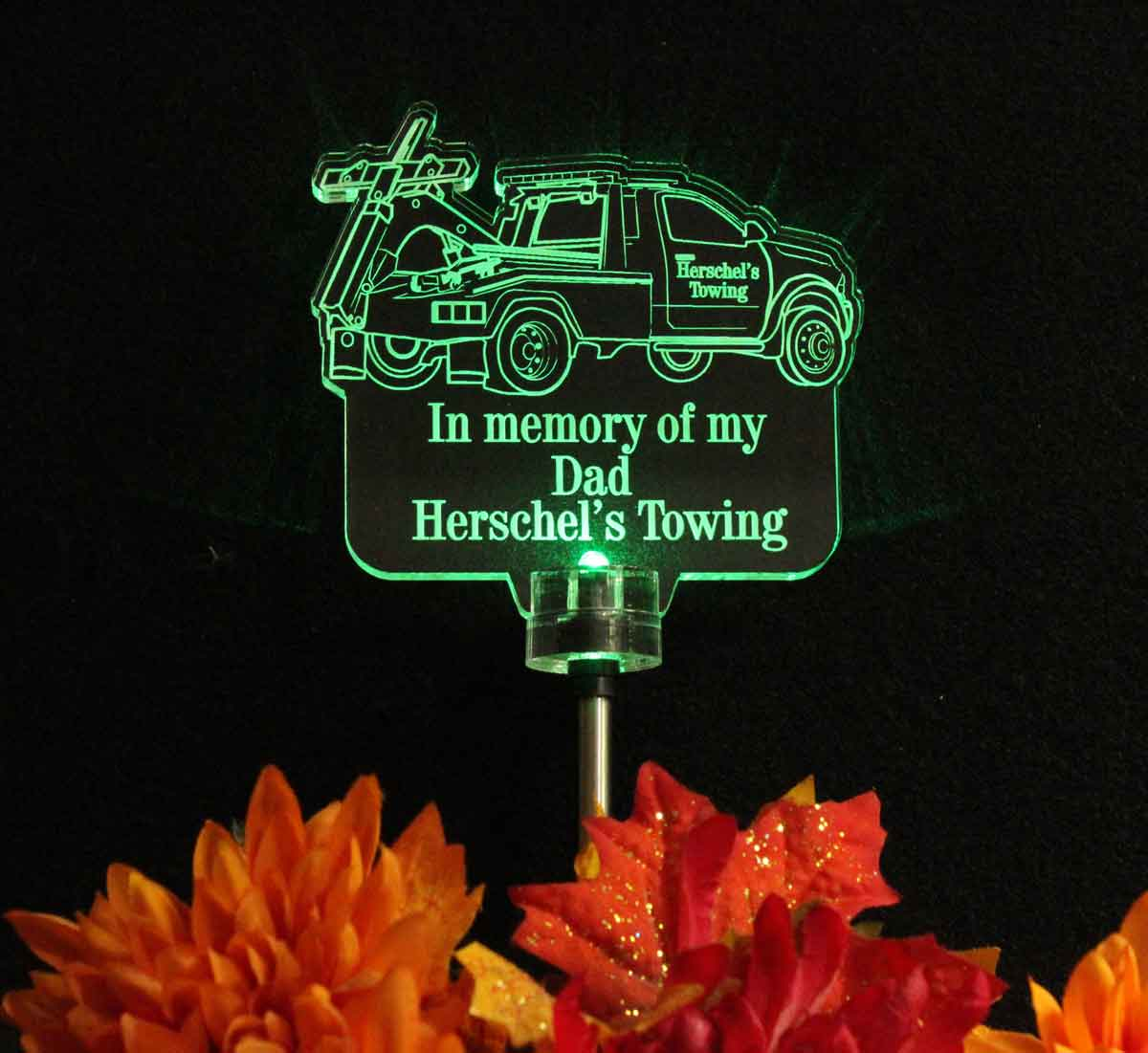 Personalized Tow Truck Solar Light, Semi Truck Grave Marker, Garden Light
