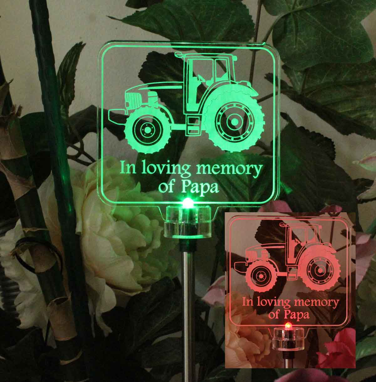 Personalized Tractor Solar Light, Grave Marker, Garden Light