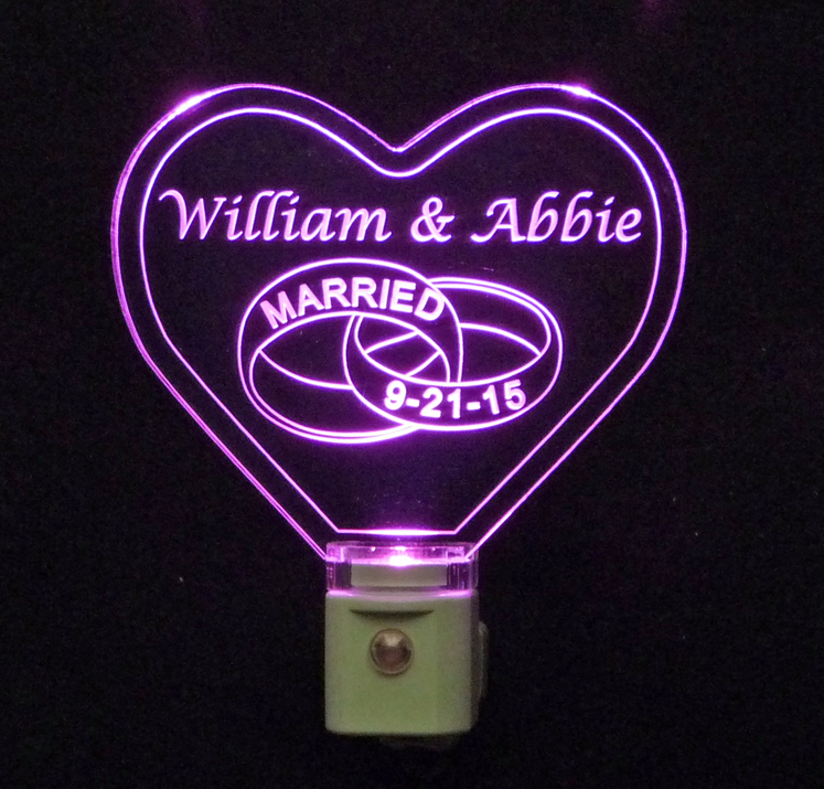 Personalized Heart Wedding Ring LED Night Light
