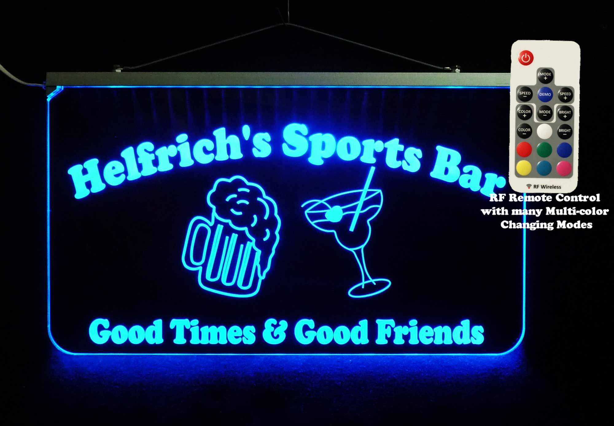 LED Personalized Sports Bar Sign with Beer Mug and Martini Glass