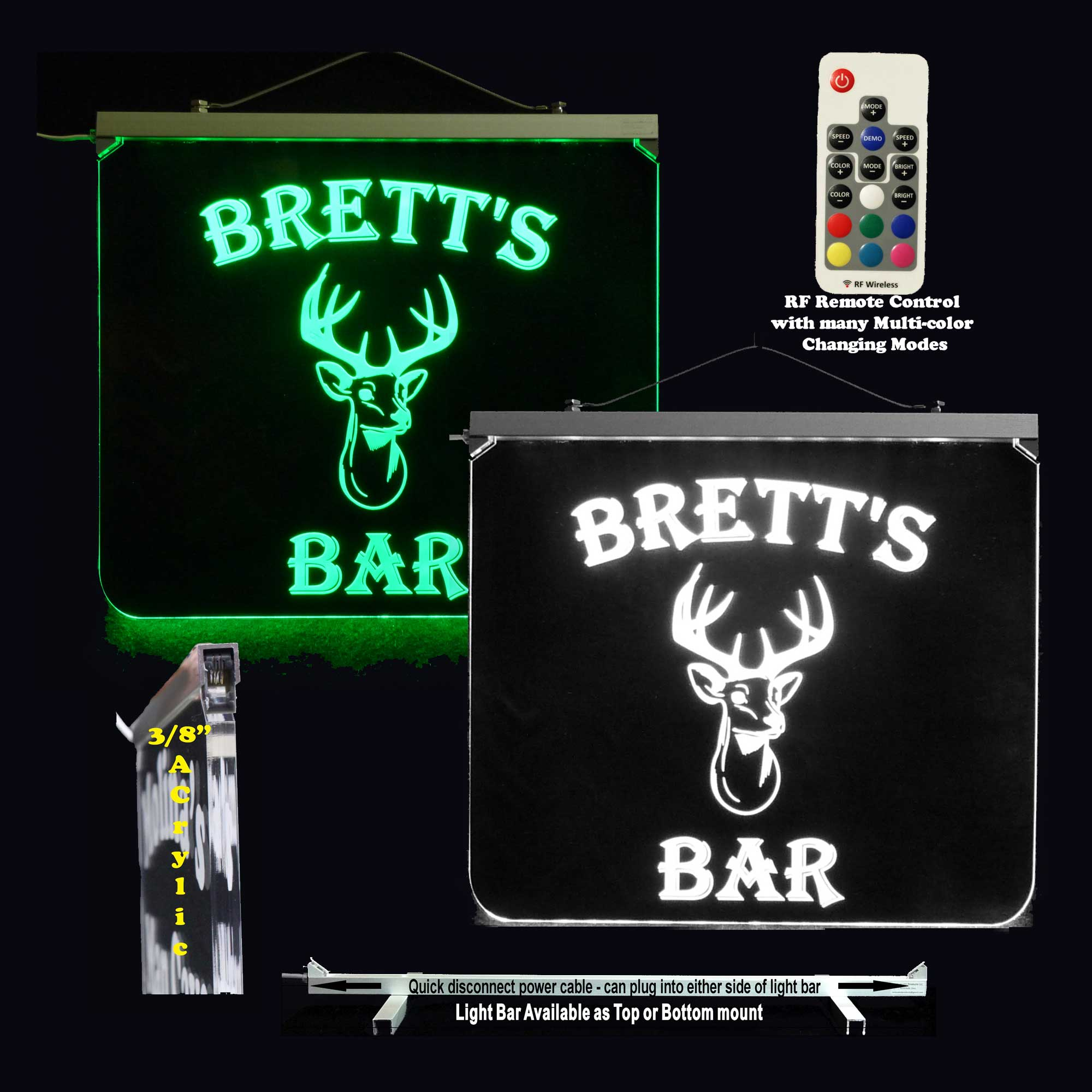 Deer Sign, Personalized Bar sign, Man Cave Sign - LED Neon