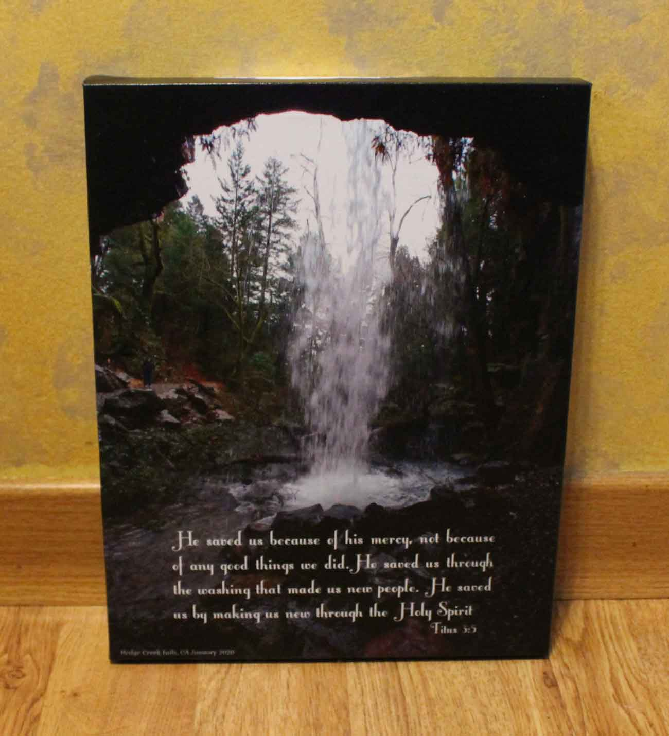 Hedge Creek Falls Photograph UV Printed on Canvas Titus 3:5 Scripture