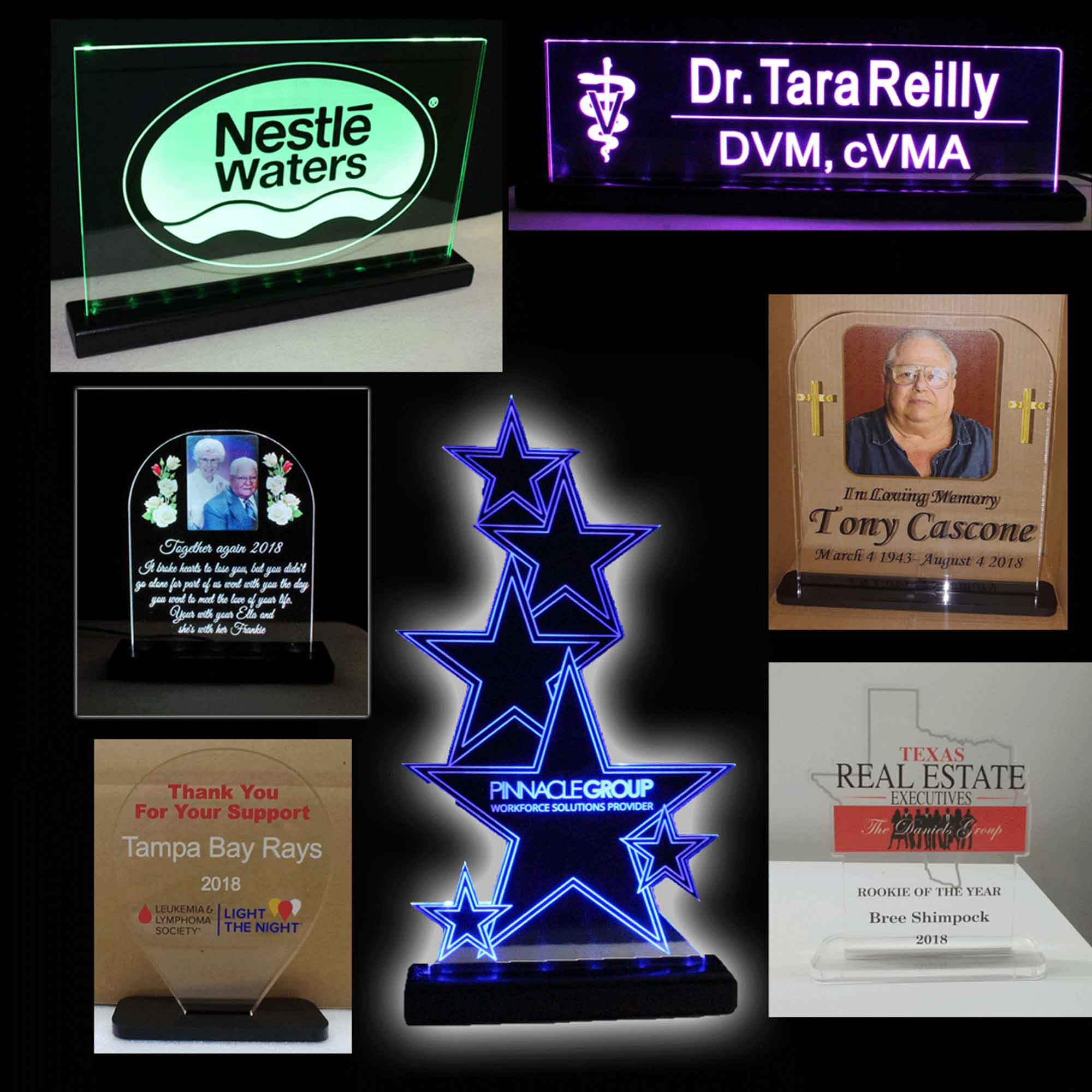 LED Name Plates, Desk Signs, Awards and Plaques