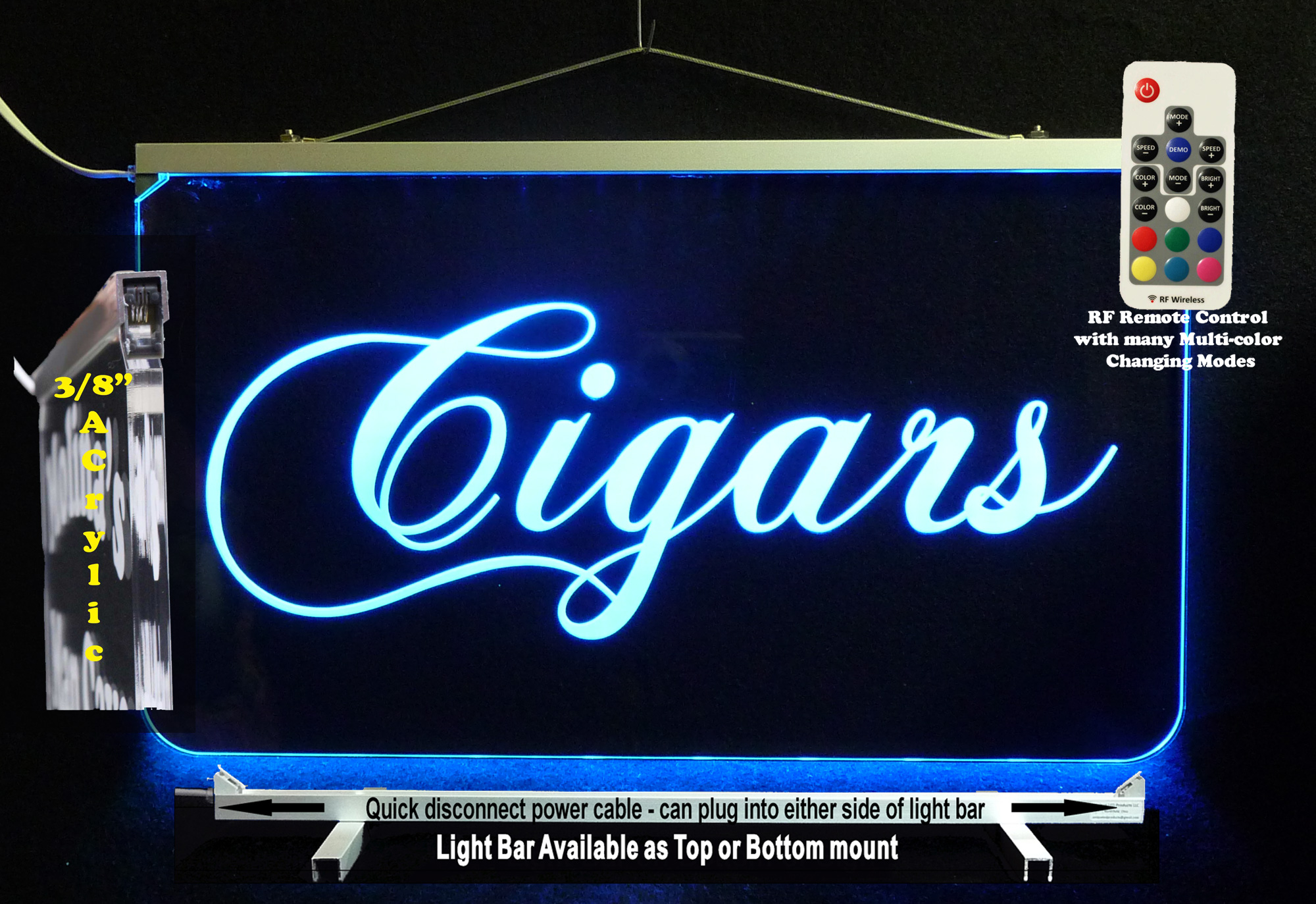 Lighted LED Cigars Sign *Personalize with name or Logo