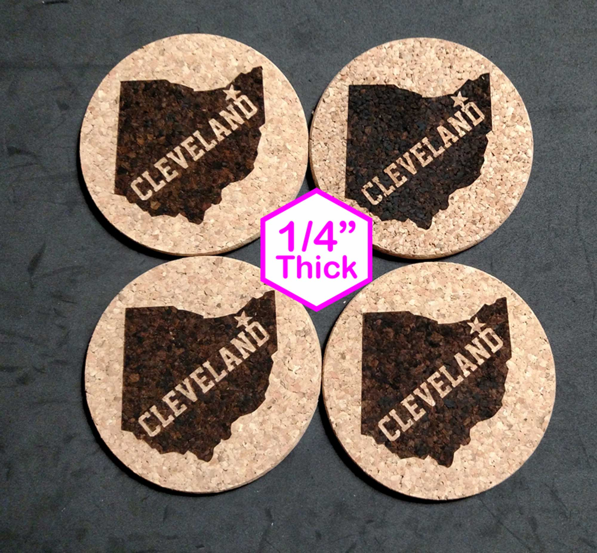 "Cleveland Ohio 4"" x 4"" Cork Coasters"