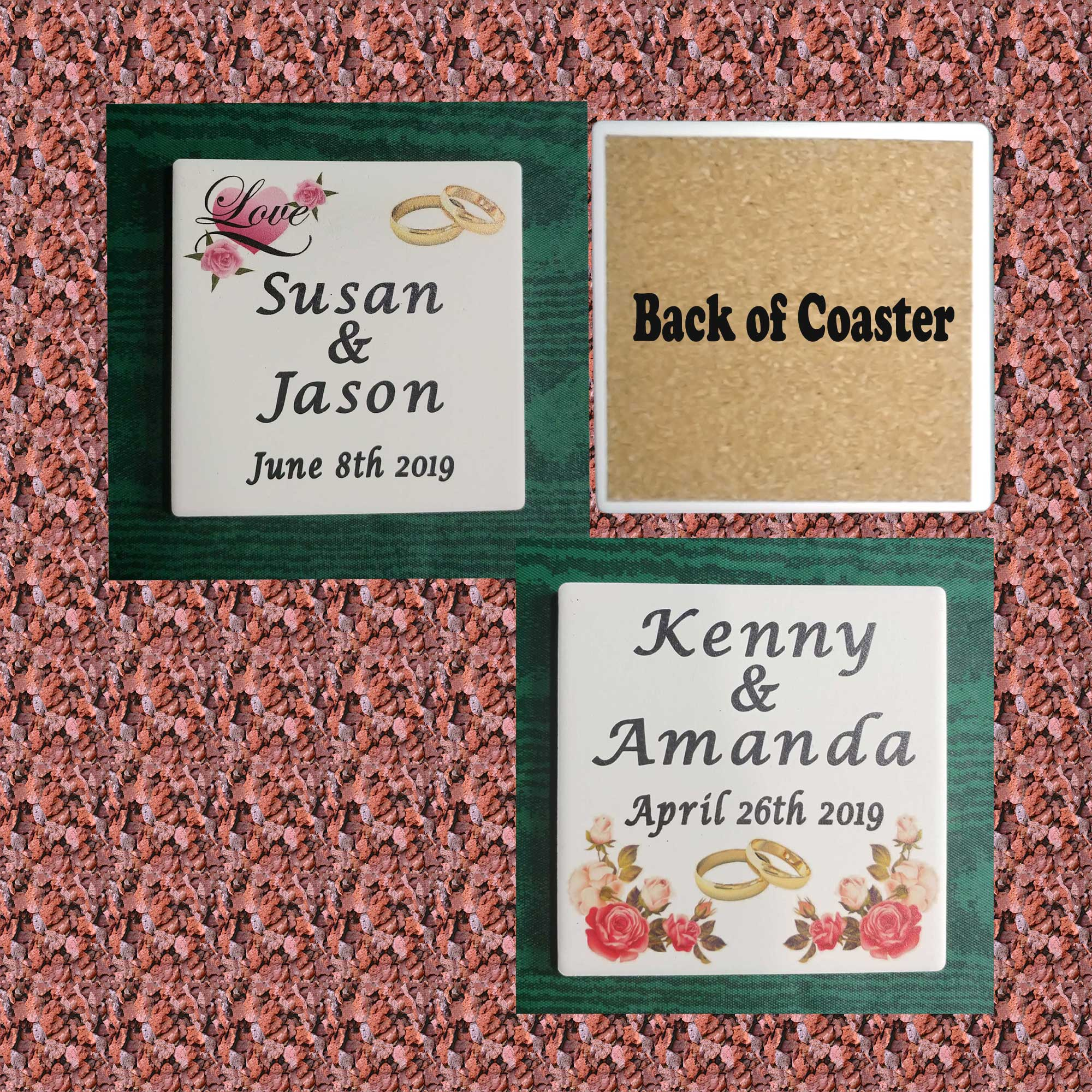Personalized Wedding coasters - UV Priinted Stone Absorbent coasters Qty 1