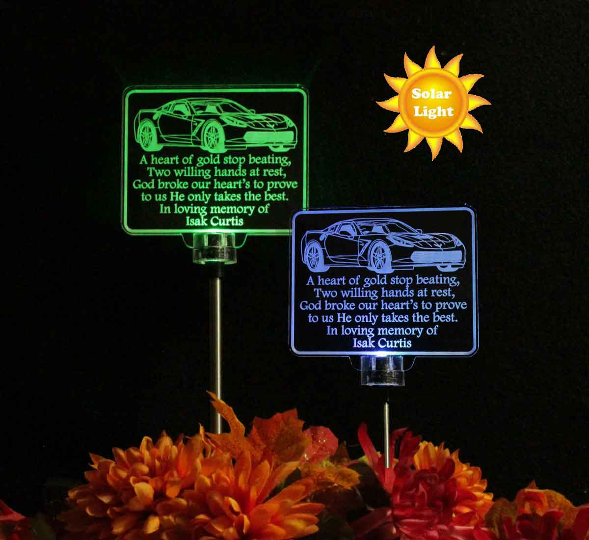 Personalized Corvette Car Solar Light, Grave Marker, Garden Light