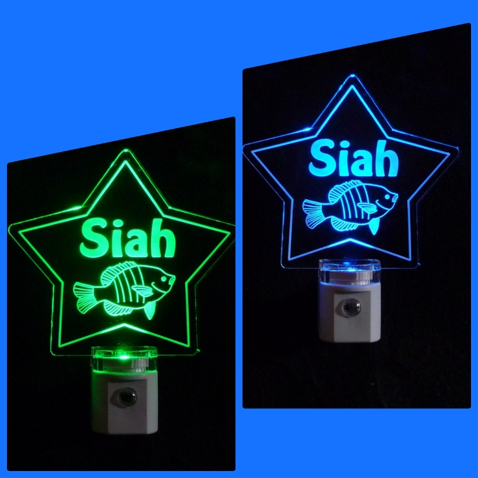 Personalized Star Night light with Fish Night Light - Kids Lamp