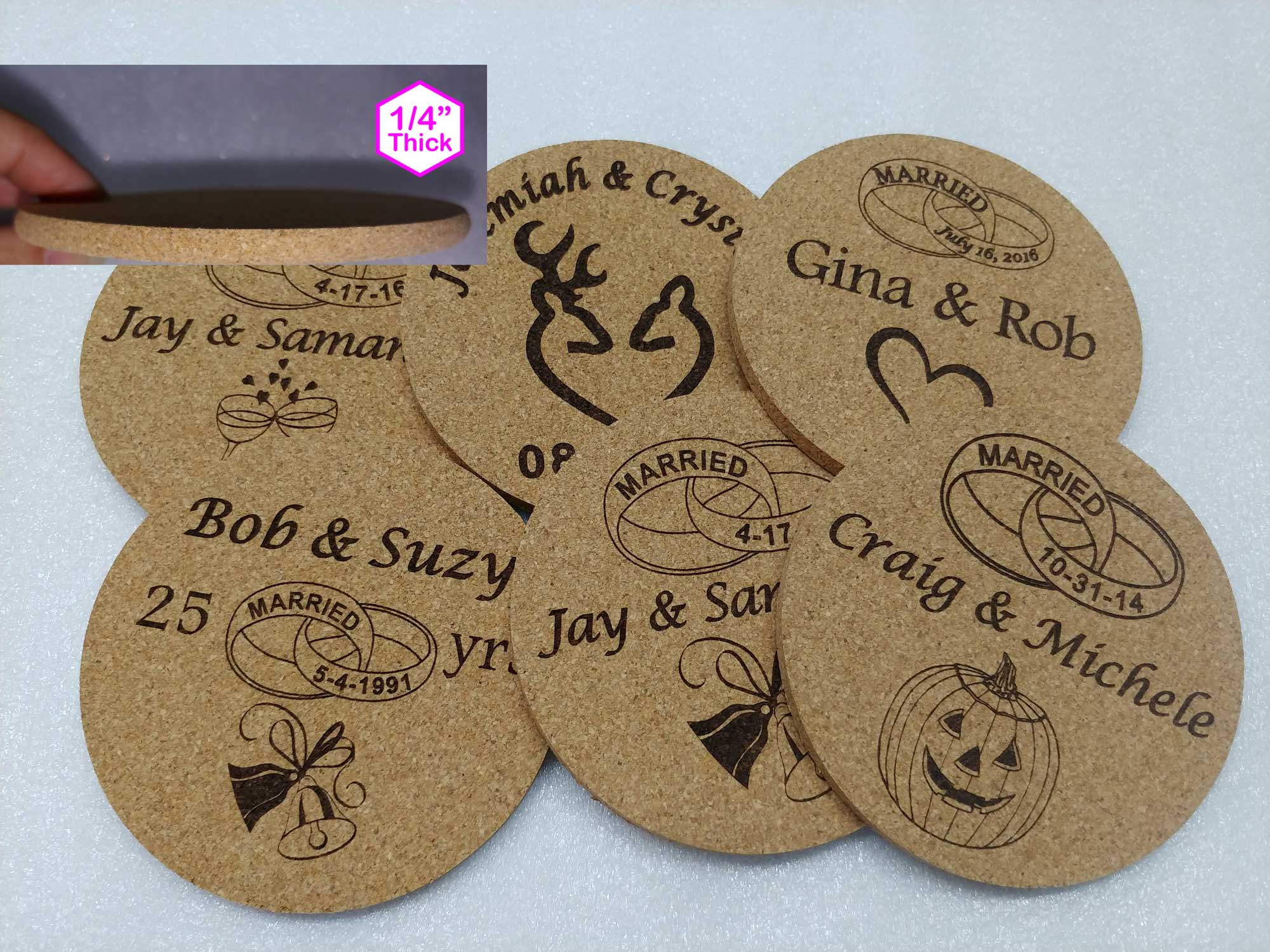 Wedding coasters Personalized 4 x 4""