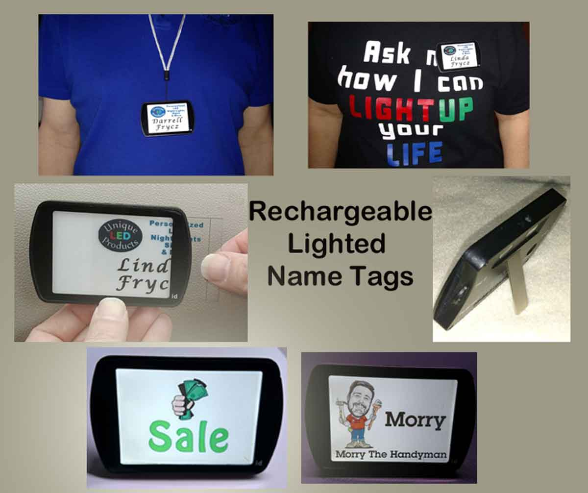 Rechargeable Lighted LED Name Tags, Name Badges