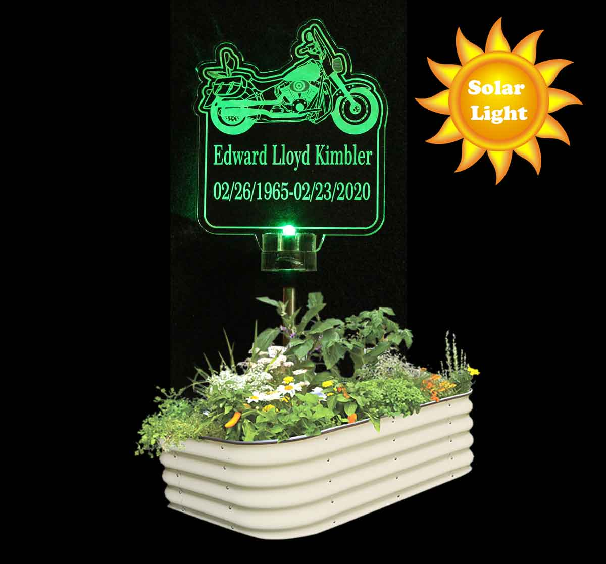 Motorcycle Solar Lihgt Personalized Garden light, Grave Marker