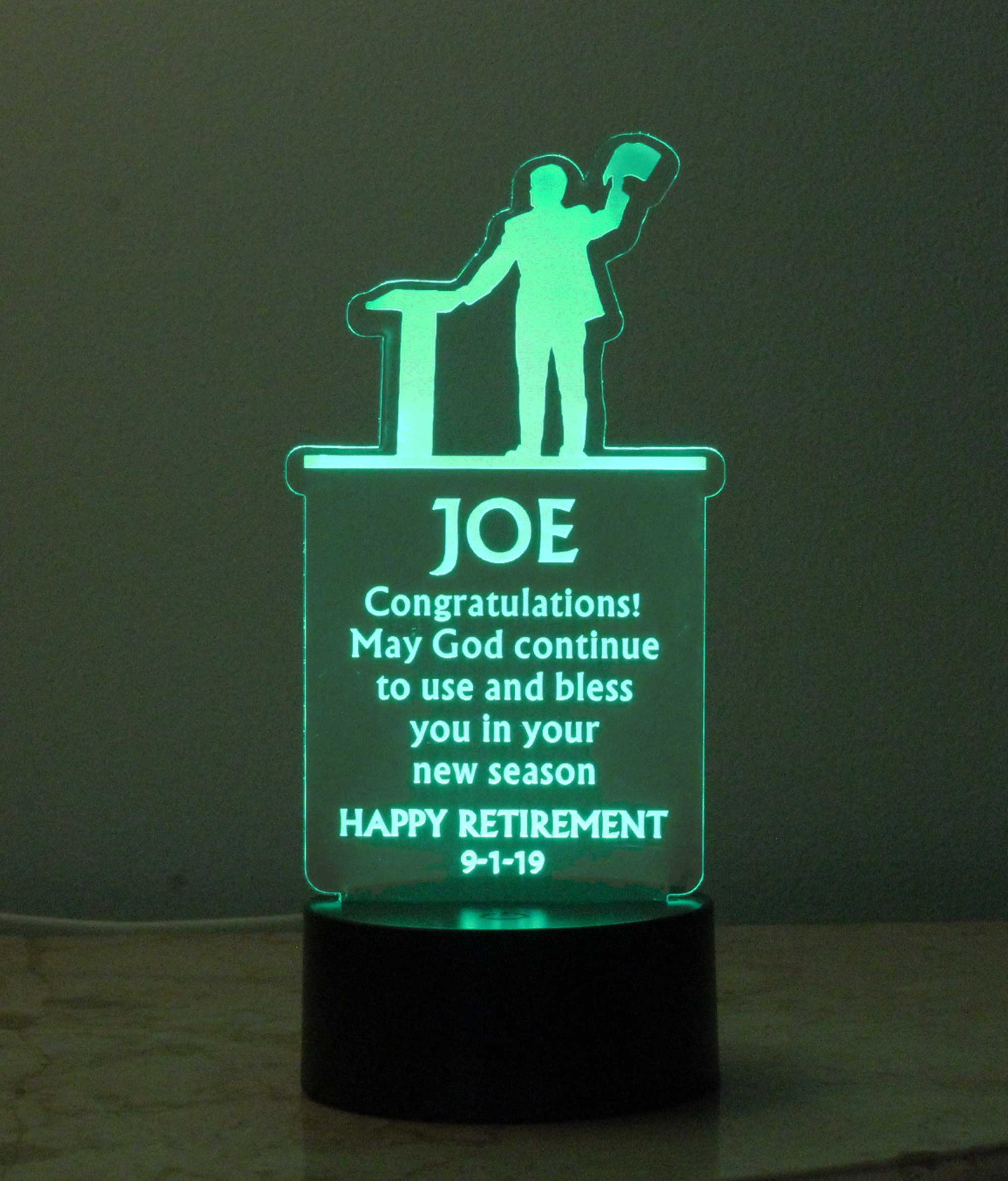 Personalized Retirement USB/110V/240V battery operated light