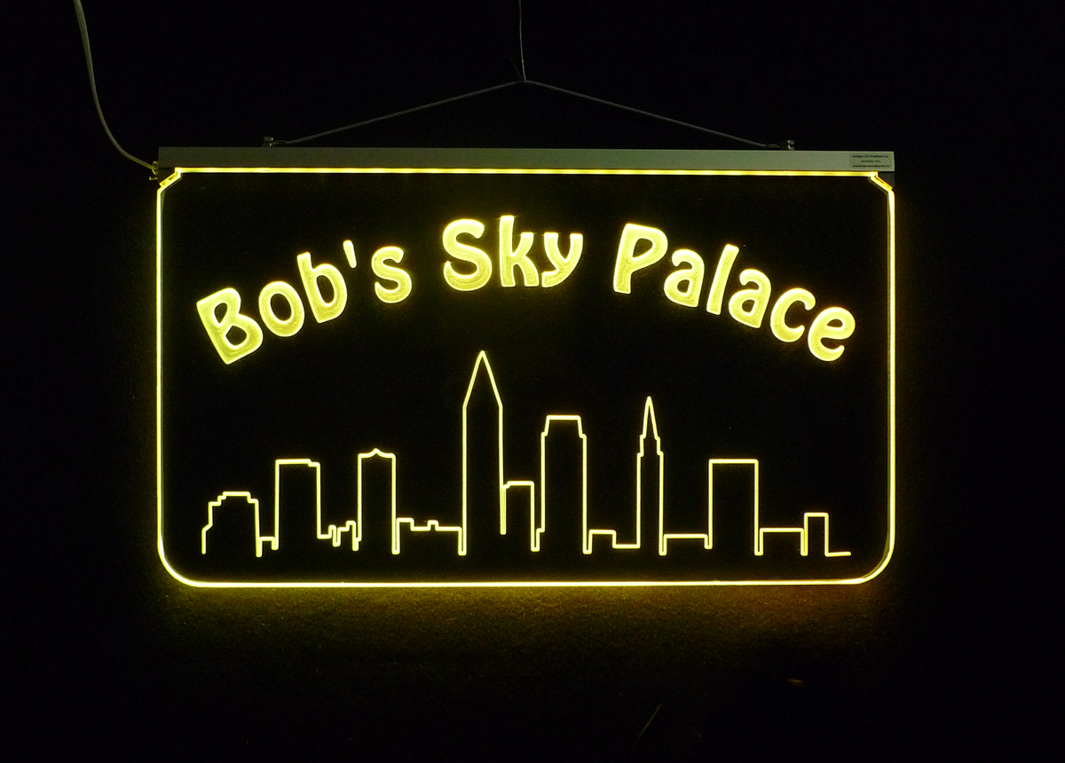 "Personalized  LED City Skyline Bar Sign, Man Cave Sign 17.25"" x 10"""