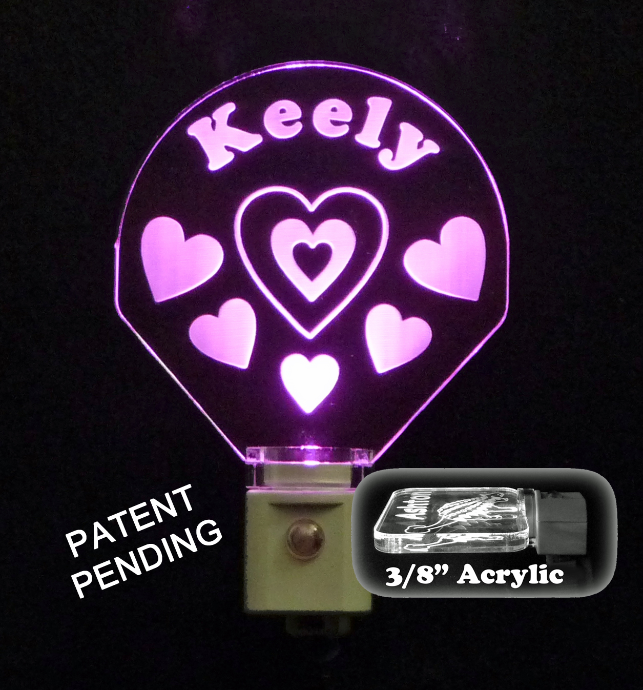 Personalized  LED Night Light, with Hearts