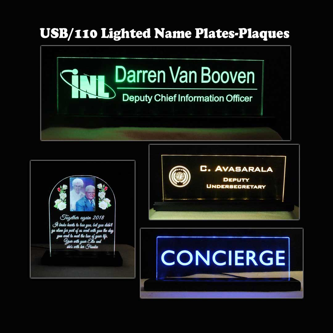 USB/110V/240V LED Name Plates, Desk Signs, Plaques, Trophies