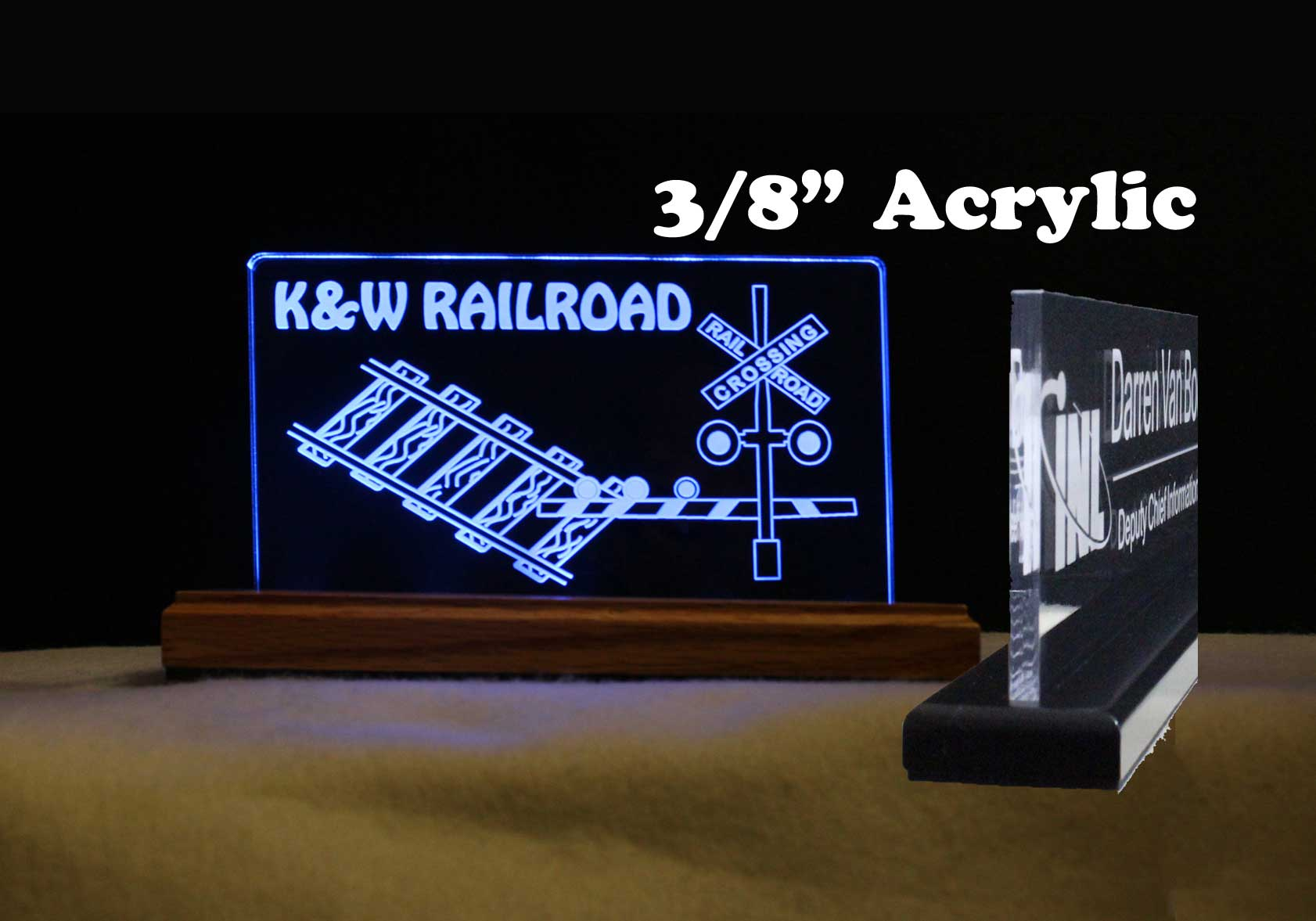 "Kids USB - 110V Personalized Train, Railroad Crossing Table Sign 7"" x 4"""