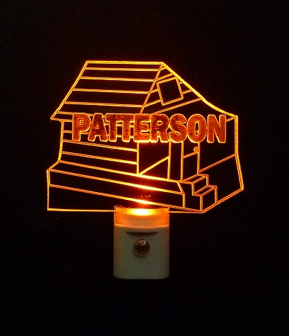 Personalized Log Cabin LED Night Light