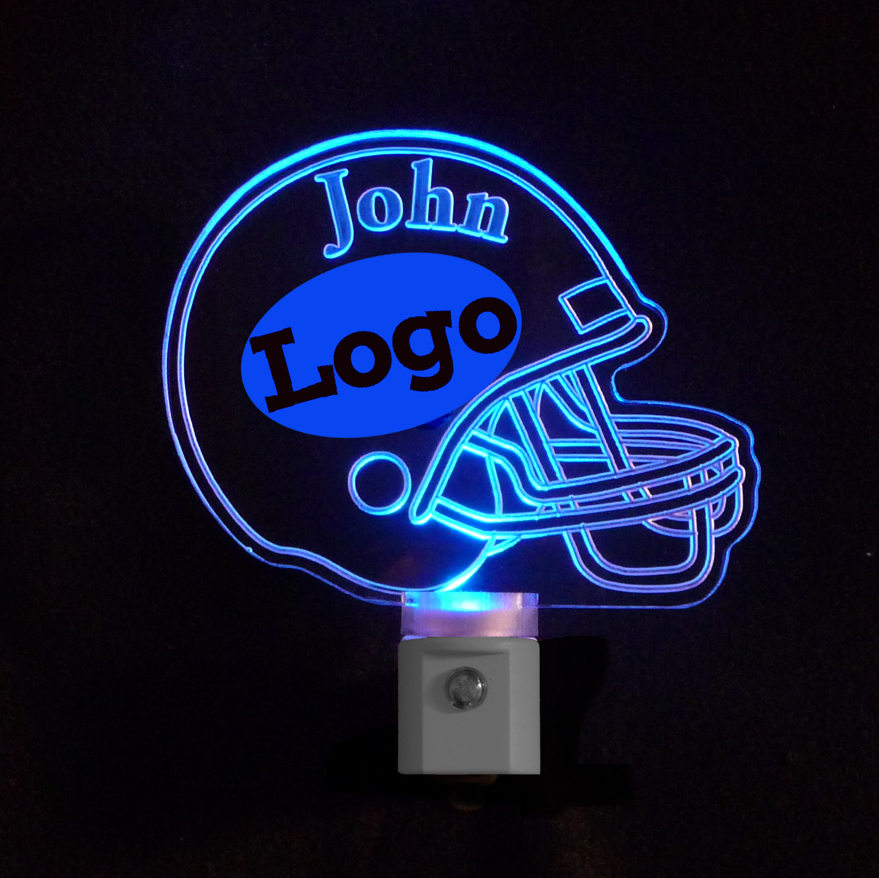 Personalized  Football Helmet LED Night Light - With Team Logo