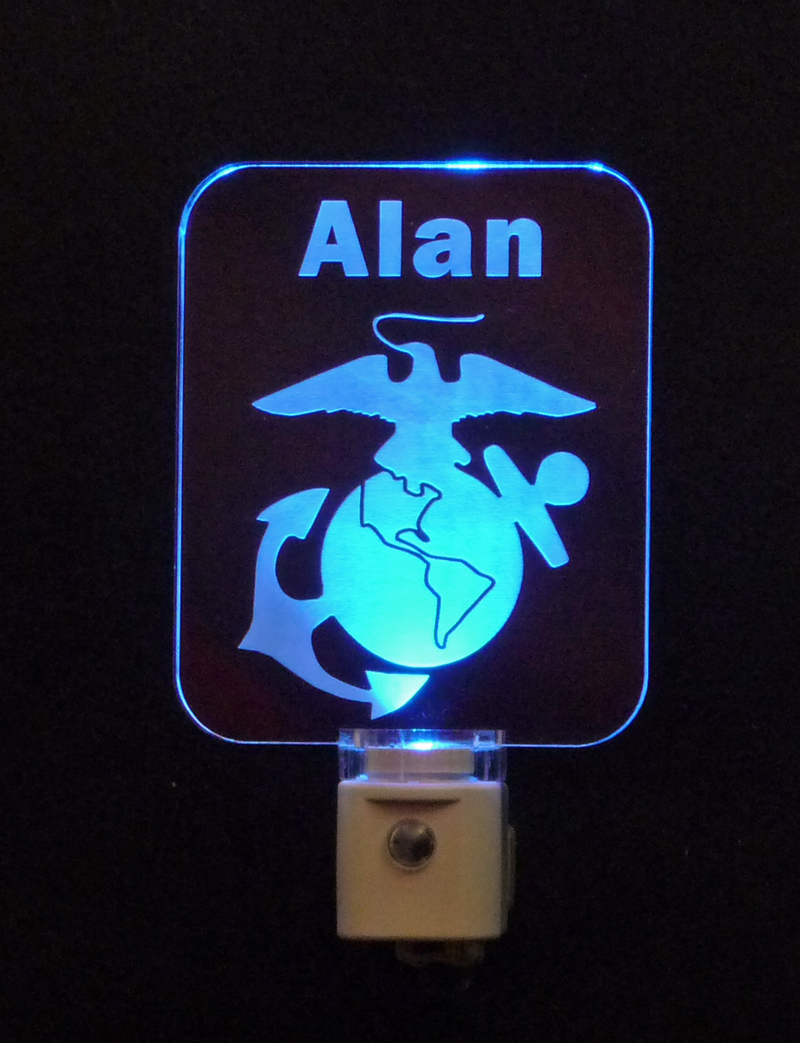 Personalized Marine Corp Logo LED Night Light