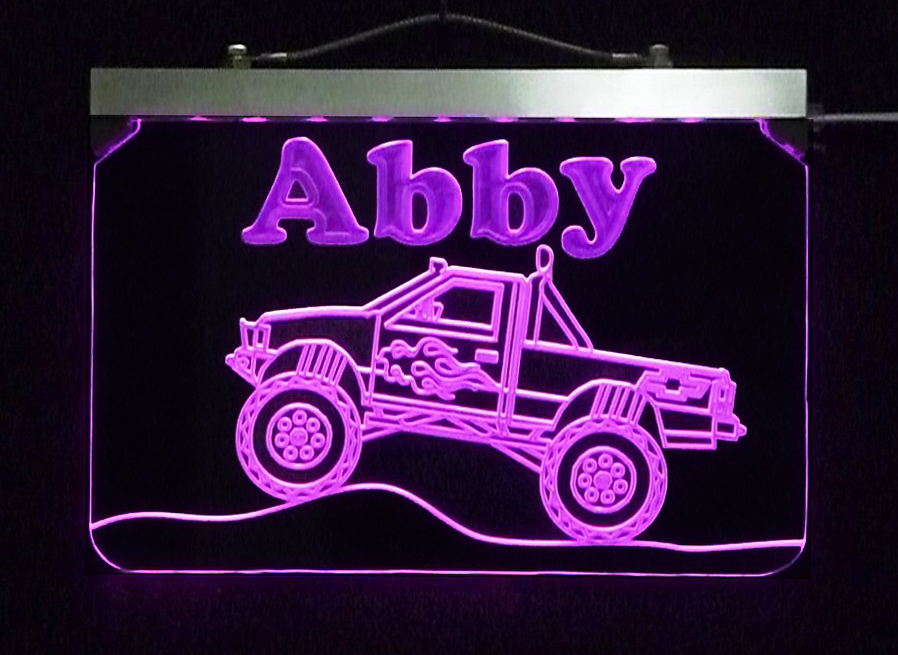 Personalized Chevy Monster Truck Kids Sign