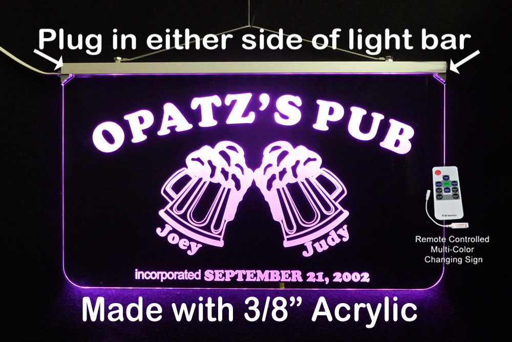 Personalized LED Wedding Sign, Bar Sign, Pub Sign Man Cave Sign