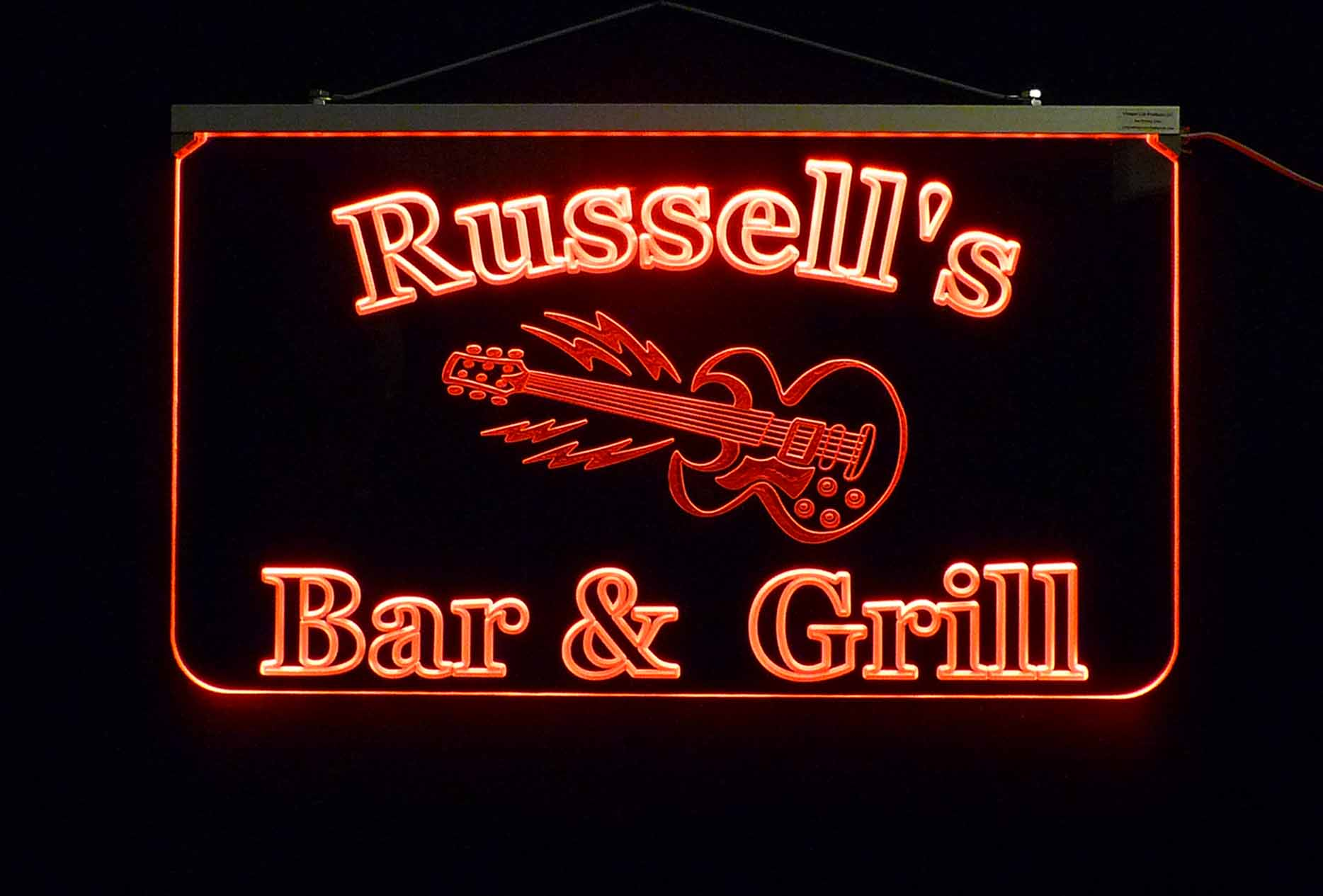 Personalize LED Guitar Sign, Man Cave Sign, Bar Sign