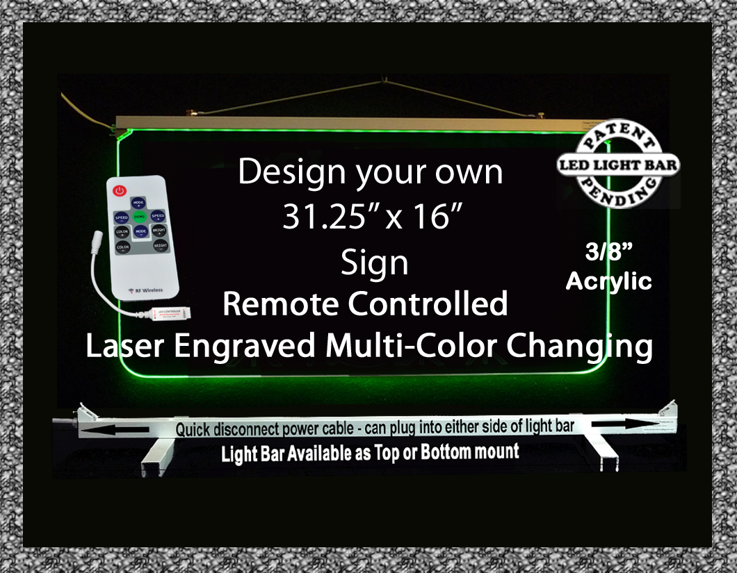 "31.25"" x 16"" Personalized LED Edge Lit Sign"