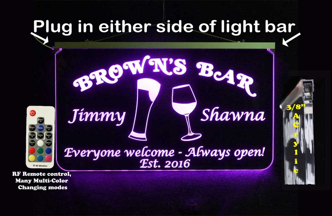 Personalized Bar Sign, Man Cave Sign, Beer, Wine Glass,  LED Sign, Wedding Sign