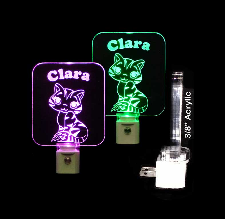 Personalized Kitty Cat LED Night Light Personalized Gift