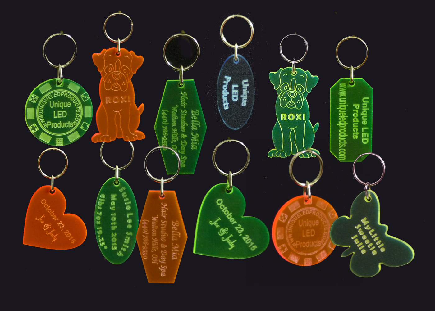 Qty 2 -  Engraved Acrylic Key Chains