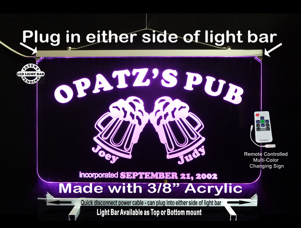 Personalize LED Man Cave Bar Sign with Beer Mugs
