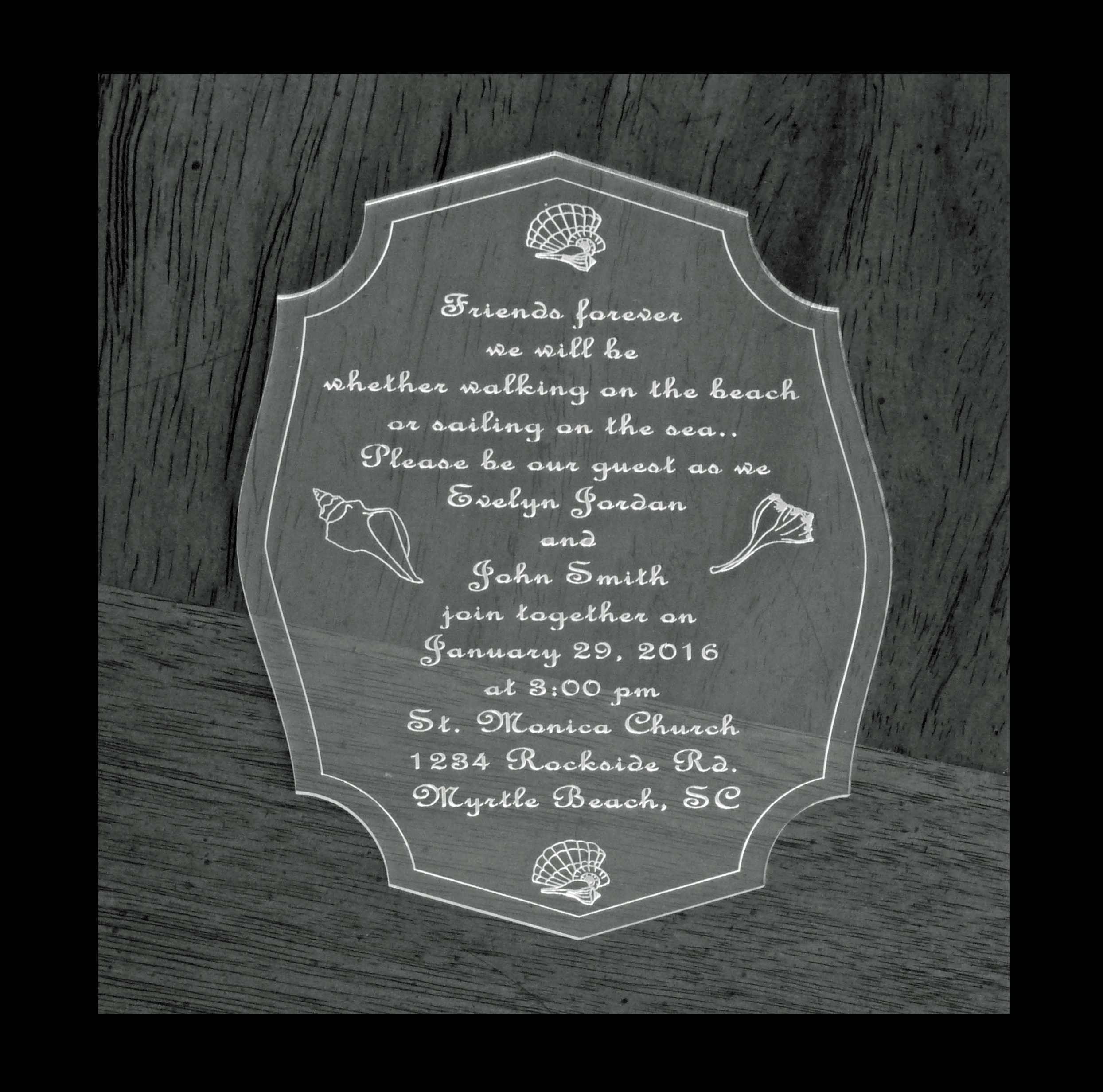 Acrylic Laser Engraved Wedding Invitations  Qty 25 Pricing