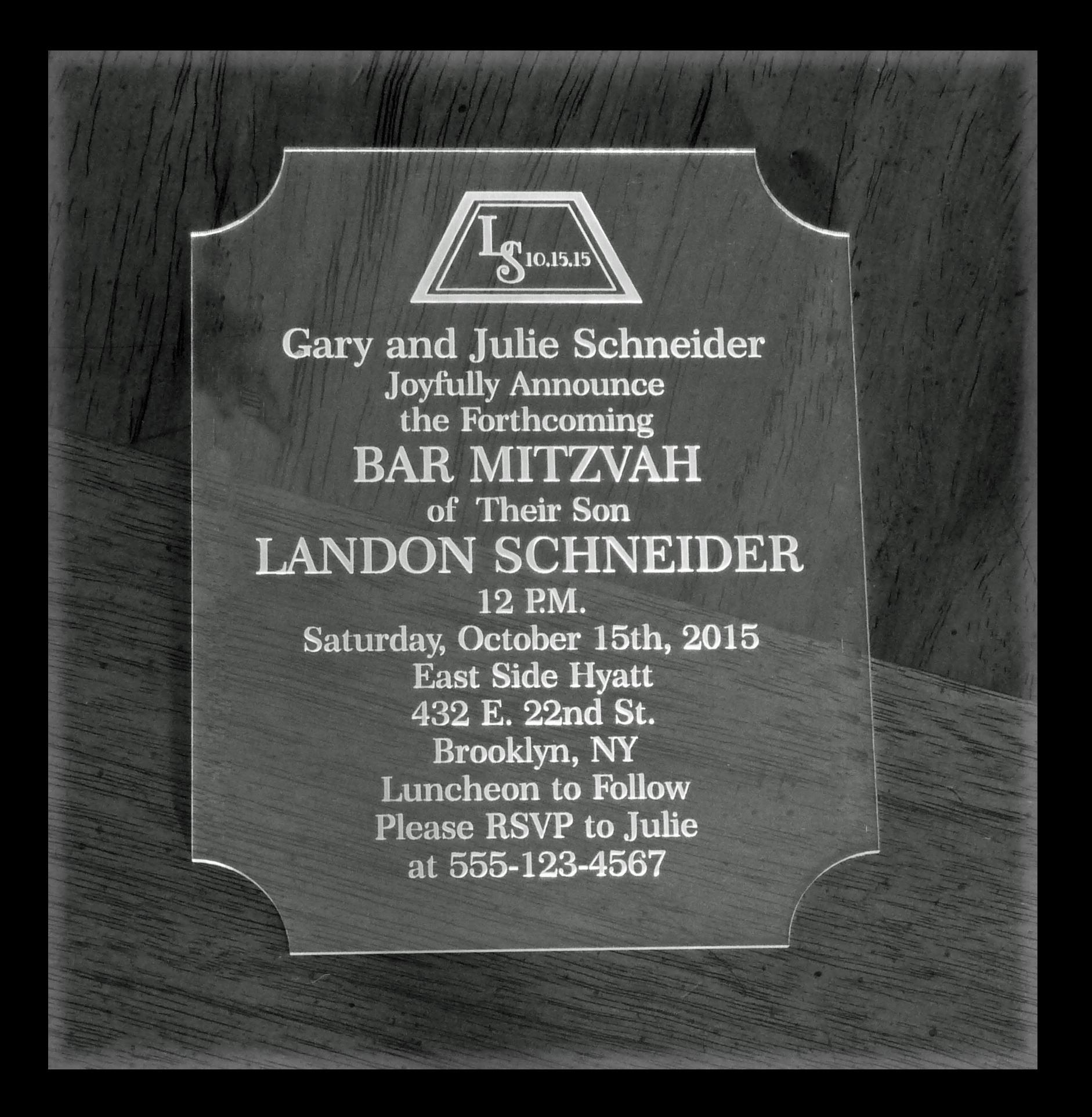 Acrylic Laser Engraved Bar Mitzvah Bat Mitzvah Invitations  Qty 25 Pricing