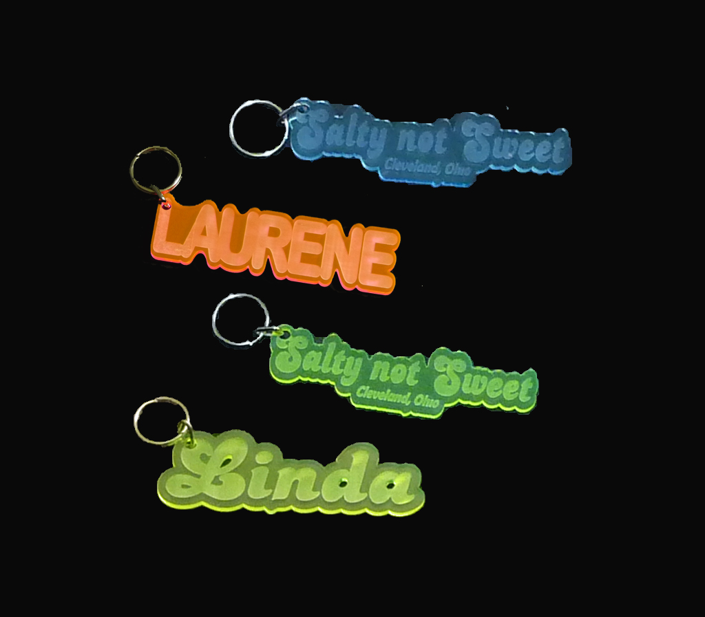 Engraved Acrylic Key Chains, Key Rings, Key Tags, Keychains Qty 2