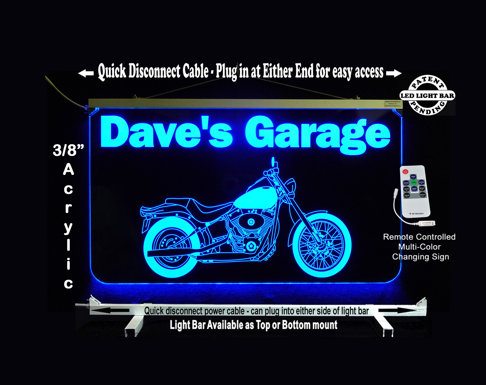Personalized  LED Garage Sign, Motorcycle Sign,  Man Cave Sign, Bar Sign