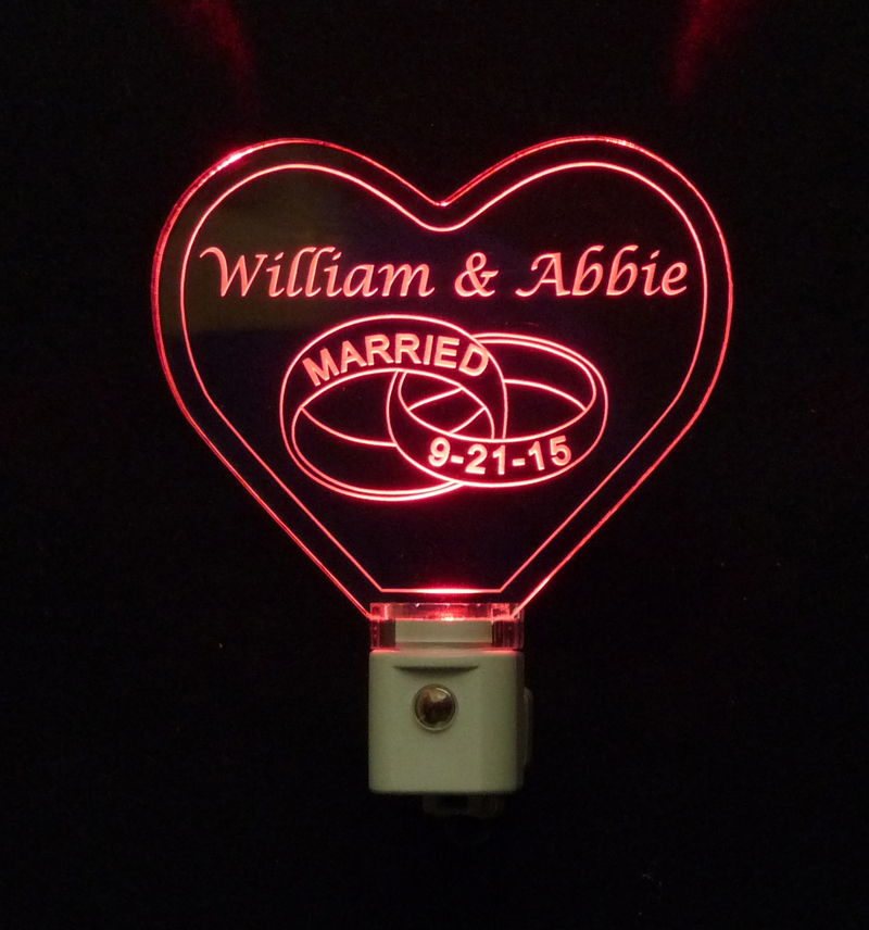 Personalized Heart Night Light with Wedding Rings