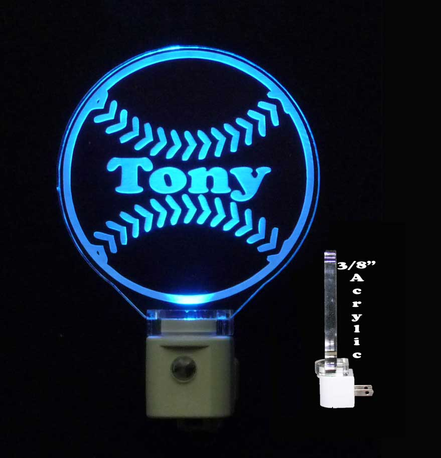 Personalized Engraved Baseball LED Night Light