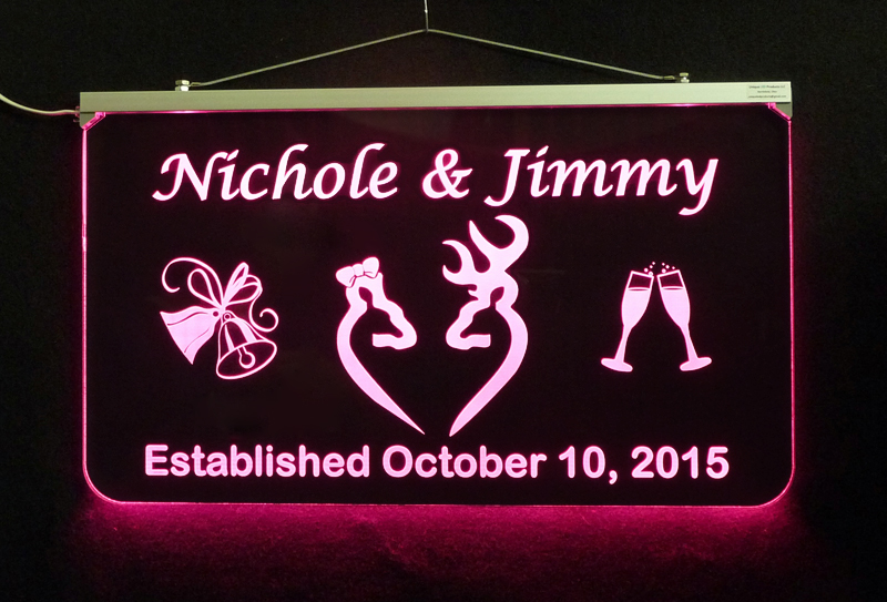 Wedding Bar Sign, Personalized LED Sign - Deer Sign