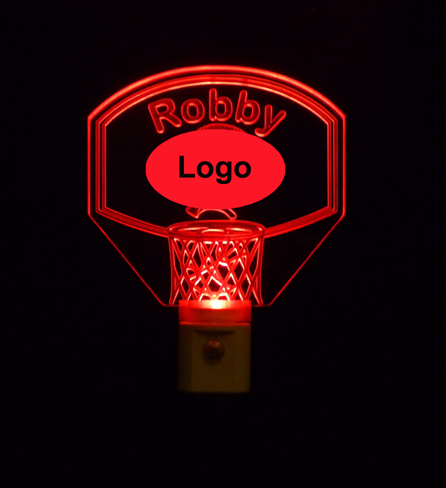 Team Logo Basketball Hoop Night Light Personalized with name
