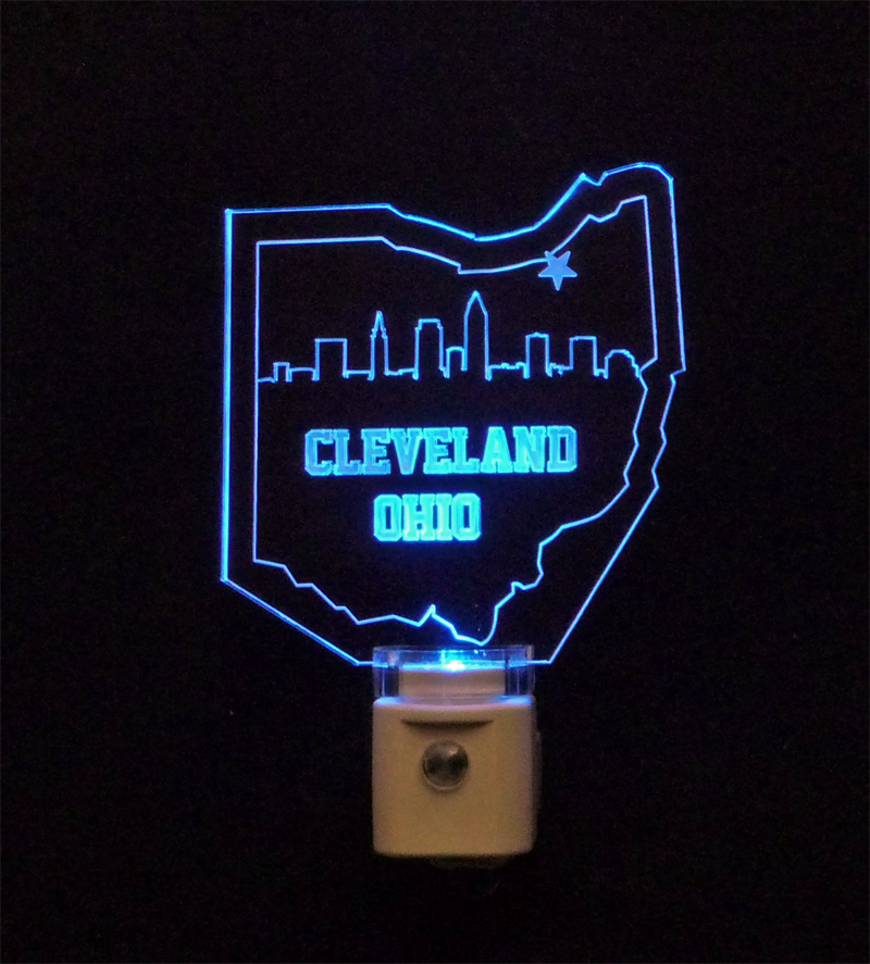 Cleveland Skyline Ohio Shaped LED Night Light