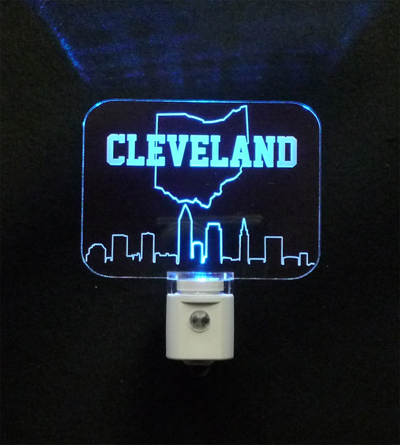 Personalized Cleveland Ohio Skyline LED Night Light