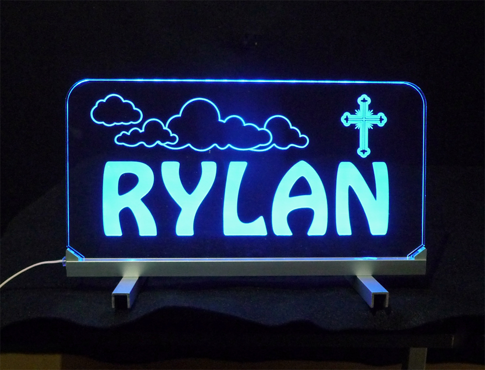 Personalized LED Desk Table Sign - Kids, Lamp, Cross