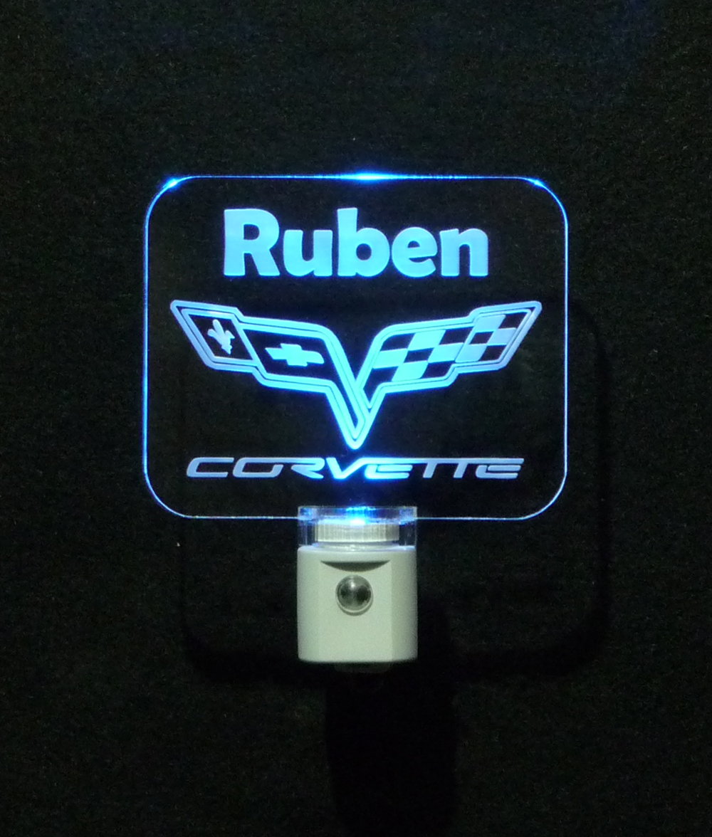 Corvette Logo Personalized LED Night Light