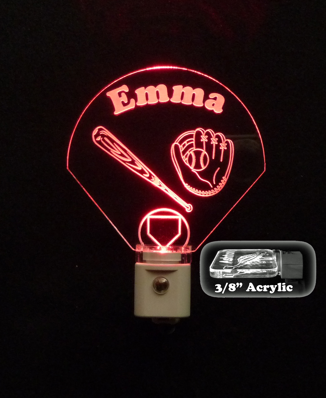 Baseball Diamond Personalized LED Night Light
