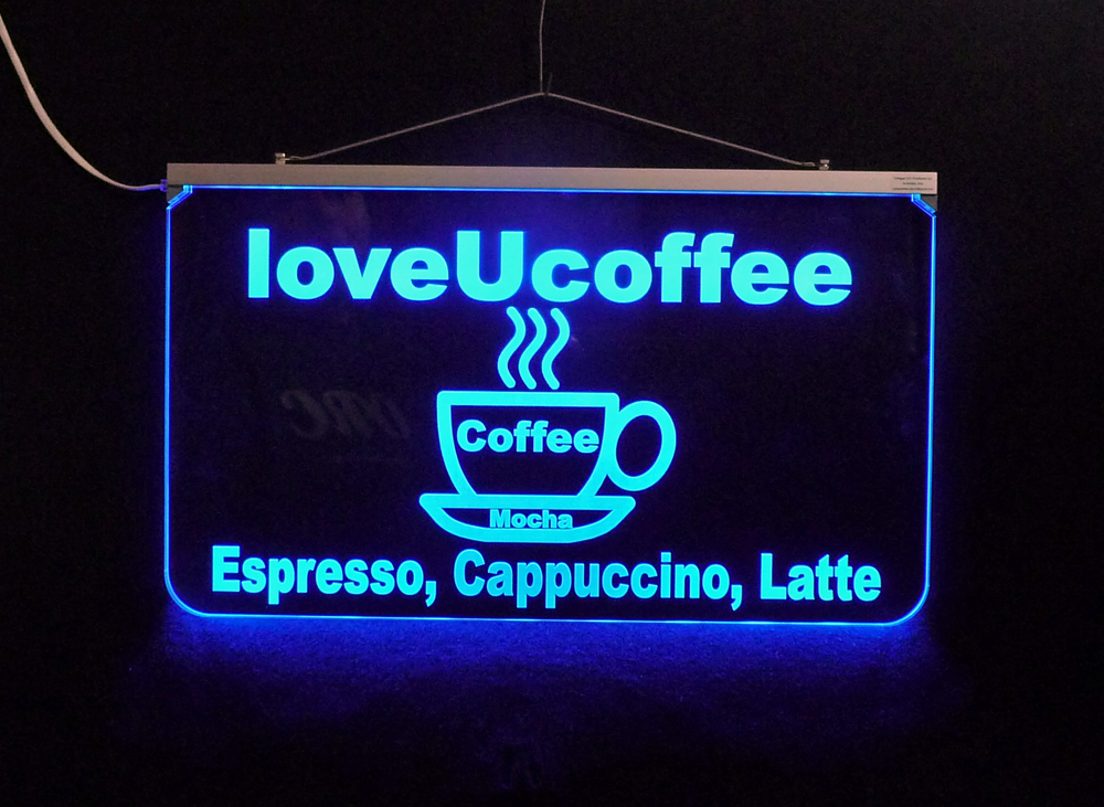 Personalized Coffee Sign,  LED Edge Lit Business Sign, Business Logo - Multi-Color Changing